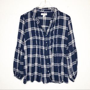 Vintage America | Blue & White Plaid Button Down M